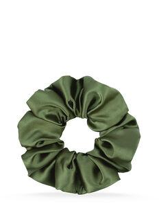 Olive Green Satin Scrunchie - 1 Pk